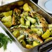 Dill flavored roasted salmon with potatoes