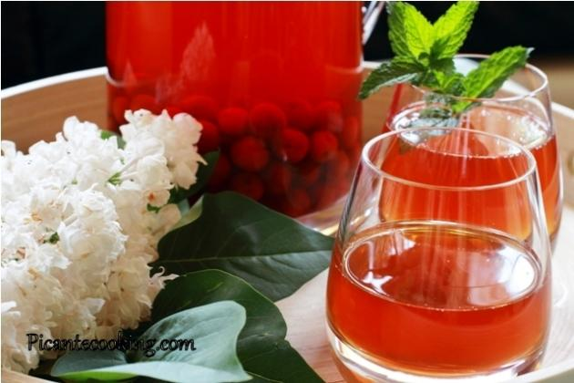 Cold refreshing cherry-mint tea.